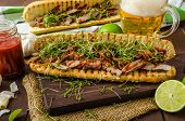 pic of cheesesteak  - Steak sandwich with herbs lime and microgreens with little bit kick of hot sriracha souce - JPG