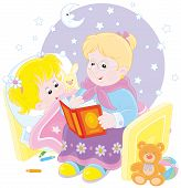 picture of babysitting  - Grandmother reading aloud a book of fairy tales to her grandchild lying in her bed - JPG