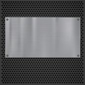 stock photo of metal grate  - Metal plate over grate texture - JPG
