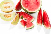 picture of watermelon slices  - Watermelon and melon with a slices isolated on white background - JPG