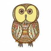 picture of stippling  - Cute decorative ornamental color Owl vector illustration - JPG