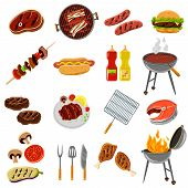 stock photo of hamburger-steak  - Barbecue and grill icons set with meat and fish steak and tools isolated vector illustration - JPG