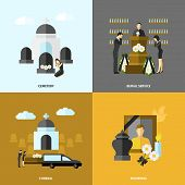 foto of cemetery  - Funeral design concept set with cemetery and mourning flat icons isolated vector illustration - JPG