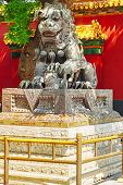 image of lamas  - Bronze lion at the entrance to beautiful Yonghegong Lama Temple - JPG