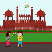 foto of indian independence day  - Cute little happy kids holding Indian national flag and celebrating Happy Independence Day on historical monument red fort background - JPG