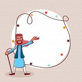 stock photo of eid festival celebration  - Happy Arabic man and stars decorated blank rounded frame for famous Islamic festival - JPG