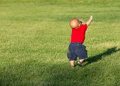 picture of little boys only  - Little baby boy 12 months old walking in a park - JPG