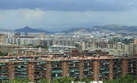 image of suburban city  - Houses and apartments in Suburban sprawl of the City of coastal Barcelona - JPG