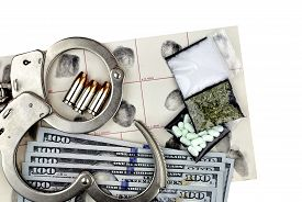 picture of handcuff  - Drug bust arrest with handcuffs cash fingerprint ID and fake sample evidence - JPG
