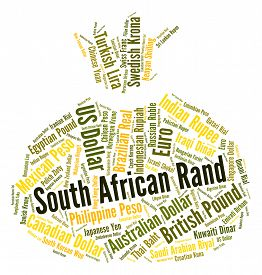 stock photo of zar  - South African Rand Showing Currency Exchange And Words - JPG