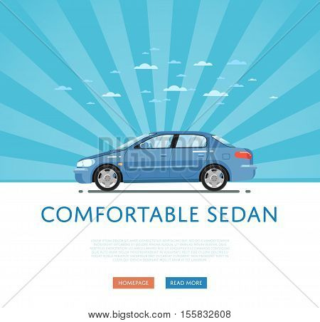 poster of City car isolated on rays background. Vector sedan car. Vehicles cartoon car isolated. Sedan car side view isolated. Urban car or family car cartoon style. Modern car model. Sedan car vector icon. For car rental service or car sale poster. Car ad.