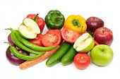 foto of fruits vegetables  - fruits and vegetables isolated on a white - JPG