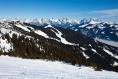 Ski slopes in Schmitten, Zeel am See resort, in austrian alps.