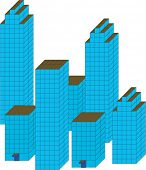 City architecture. The vector image.