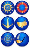 Six sea signs. A vector illustration