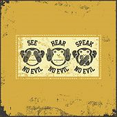 Постер, плакат: See no evil hear no evil speak no evil Vector illustration