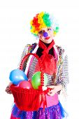 Girl In Bright Carnival Costumes With A Basket Of Balloons