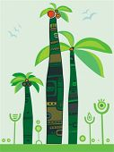 image of tree snake  - jungle palm trees.