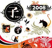 2008 - year of rat. Vector set of asian design elements. To see similar stuff,  please visit my gall