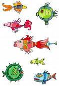 Colorful cute fishes. 