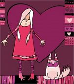 Valentine illustration of cute girl and disaffected cat. To see similar stuff, please visit my galle