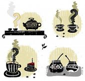 Tea, coffee, yerba mate - graphic set of design elements.