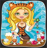 Vector illustration of cute bartender girl wearing costume of Tiger (symbol of 2010 year), serving d