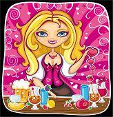 Ilustración de vector de niña linda bartender hace bebidas en fiesta de San Valentín