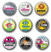 Colorful bottle caps 9 - vector set