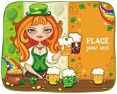 stock photo of saint patricks day  - Cute girl serving Saint Patrick - JPG