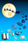 Illustration with santa flying by with gifts flying off.