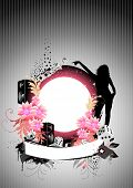 Floral vector background with speakers and flowers.