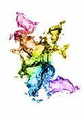 Water splashes in technicolour!