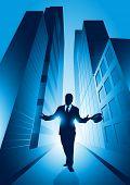 A businessman set against the big city. Vector illustration.
