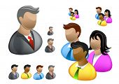 stock photo of people icon  - A collection of Business people internet user icons - JPG