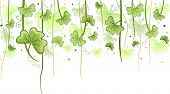 Illustration of Shamrock Vines Hanging from Above for Background