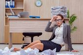 Busy stressful woman secretary under stress in the office poster