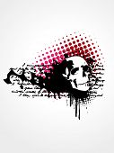 vector skull grunge art background