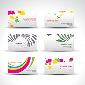 vector set of six card