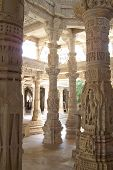Column Of Marble Of A Jain Temple Vertical View, Ranakpur, India