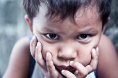 Asian Boy Portrait - Sad With Hands On Face