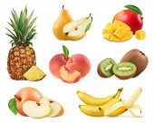 Sweet fruit. Banana, pineapple, apple, mango, kiwi fruit, peach, pear. Whole and pieces. Realistic i