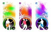 Banners with loudspeakers & silhouettes of musicians