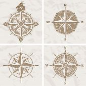 stock photo of compass  - Vintage compass roses - JPG