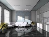 Office  Interior With White Sofa 3D Rendering