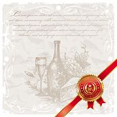 Vector illustration with hand drawn still life and golden seal of quality