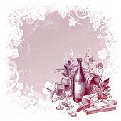 Vector grunge background with vintage wine still life