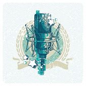Abstract vector musical emblem with hand drawn studio condenser microphone