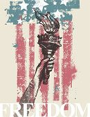 Abstract USA patriotic vector illustration - drawing hand of freedom with torch