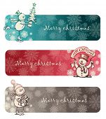 stock photo of snow-slide  - Three Christmas banners with hand drawn snowmans - JPG